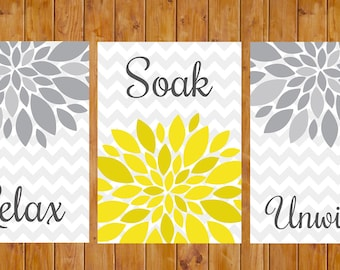 Flower Burst Gray Yellow Wall Decor Spa Bathroom Relax Soak Unwind Set of 3 Printable Digital  5x7 JPG files  Instant Download (97)