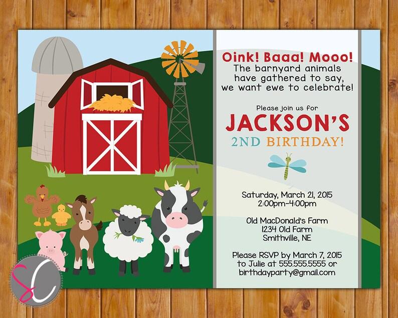 Farm Birthday Party Invite Cow Pig Horse Barnyard Animals Red