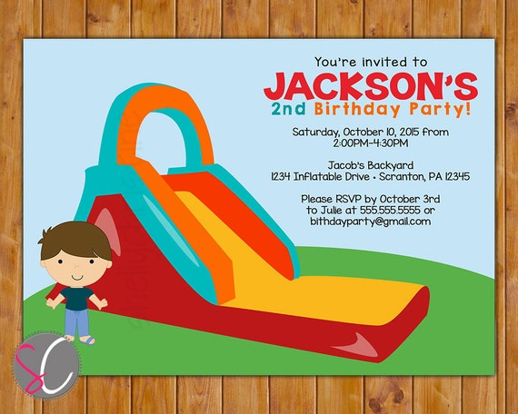 inflatable slide birthday party invitation boys bounce party etsy