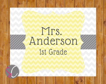 Print Yourself Chevron Yellow or Teal Grey Teacher Name Personalized End of year Gift Classroom Door Wall Art 10x8 Digital JPG File (44)