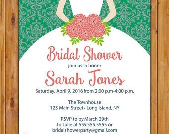 Bridal Shower Invitation Bride to be Silhouette Elegant Damask Bridal Shower Emerald Green Invite Printable Green Damask Wedding Invite (65)
