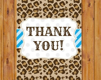 "Leopard Print Thank You Card Flat Card Print Your Own All Occasion 4""x6"" Digital Instant Download (ty-130)"
