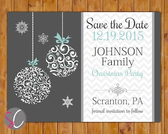Christmas Save the Date Company Family Party Chevron Holiday Ornament Blue Grey DIY Printable 5x7 Digital JPG File (116)