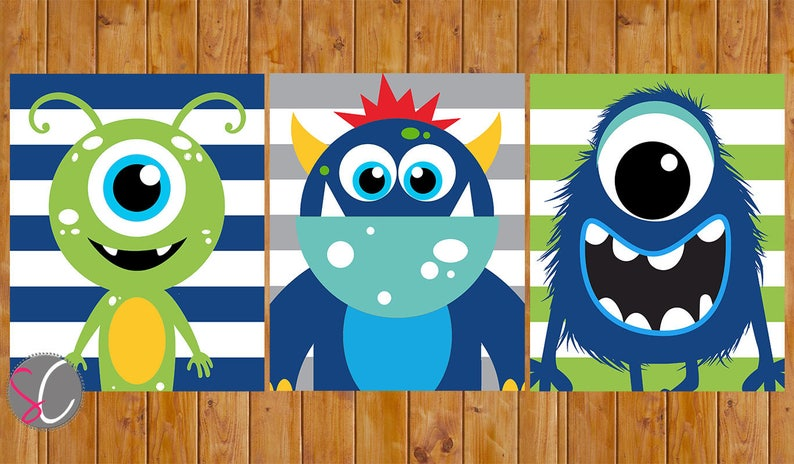 Monster Wall Art Decor Navy Blue Lime Green Grey Stripes Toddler Child\'s  Boys Bedroom Set of 3 8x10 Digital JPG Files (252)