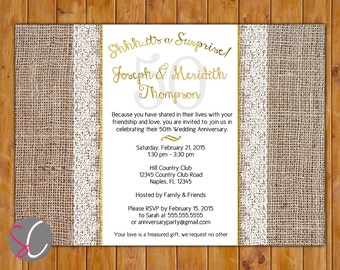 Surprise Golden Wedding 50th Anniversary Invite Burlap and White Lace Gold 50 Years Invitation Printable 5x7 Digital JPG (432w)