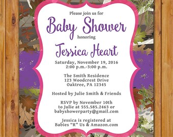 Camouflage Hunting Girl Baby Shower Invite Pink Purple Party Invitation 5x7 Digital JPG File (162)