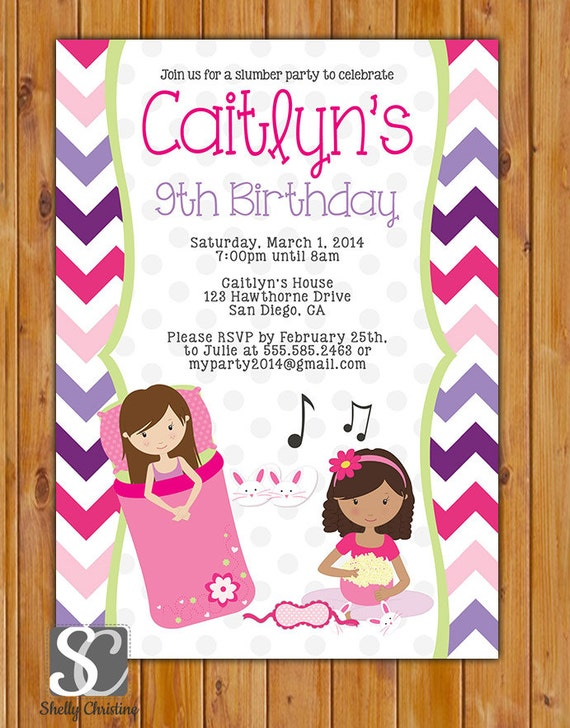 Sleepover Birthday Party Invite Slumber Party Invitation 8th Etsy