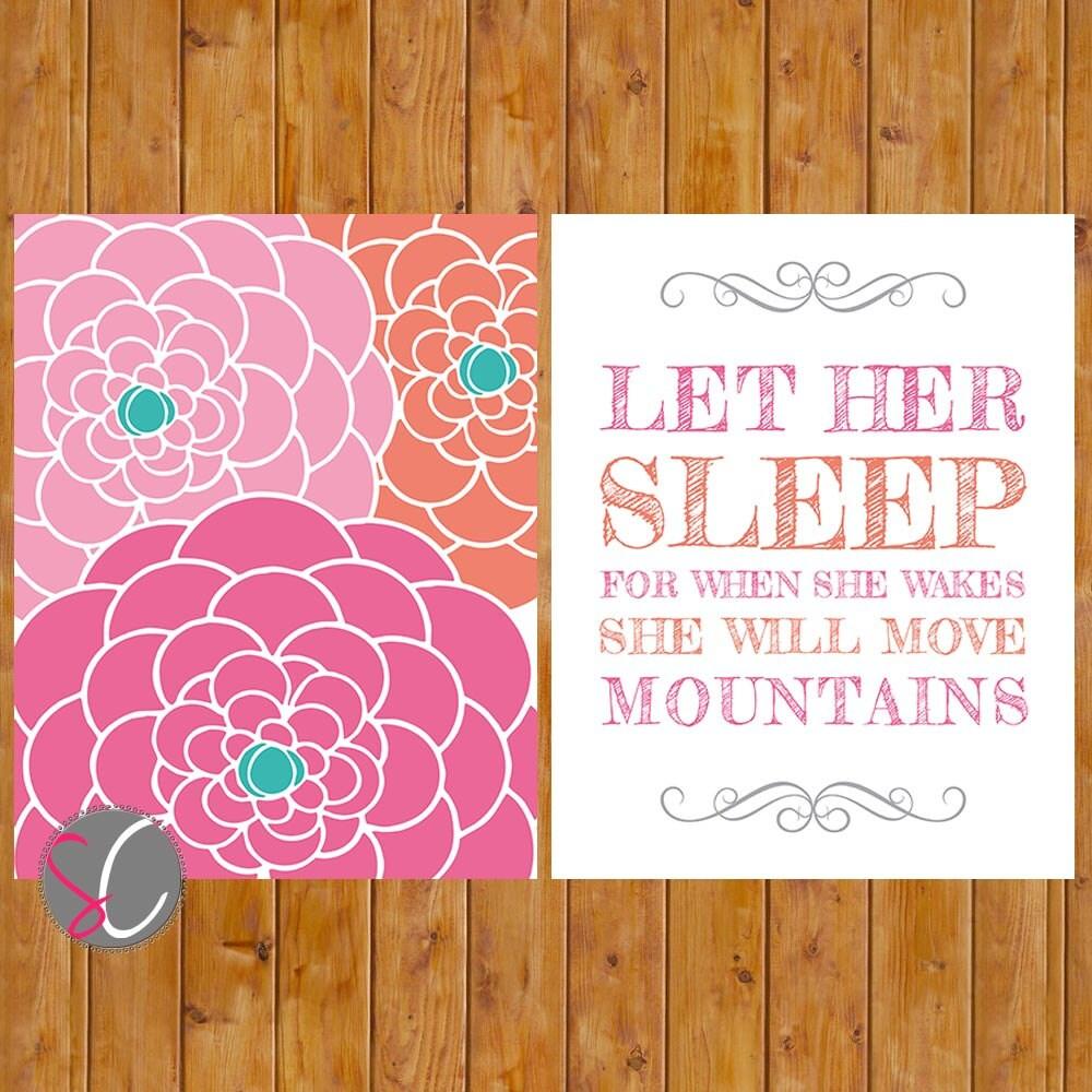 Let Her Sleep Printable Coral Pink Teal Floral Nursery