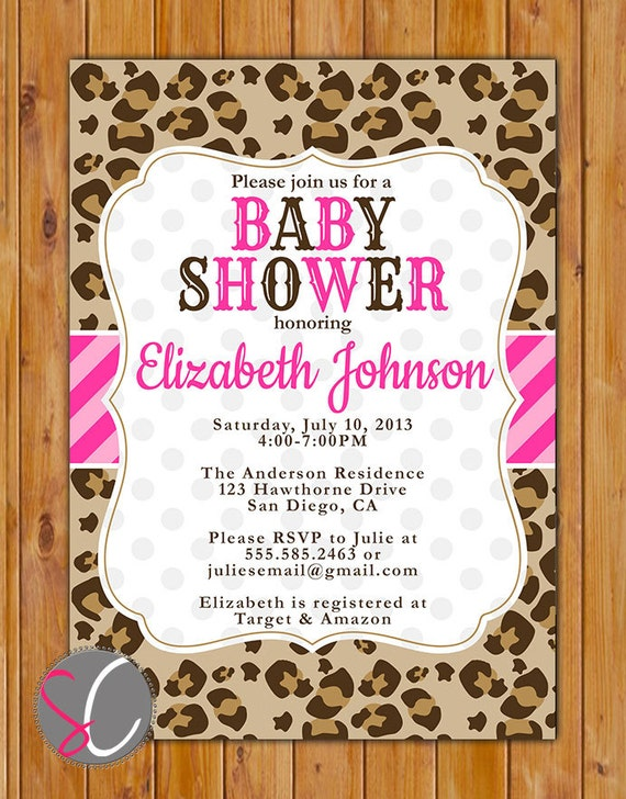 Leopard Print Baby Shower Party Invite Pink Stripes Polka Dots Etsy