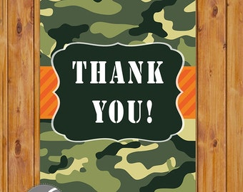 "Orange Green Camouflage Thank You Card Flat Card Print Your Own All Occasion 4""x6"" Digital Instant Download (ty-282)"