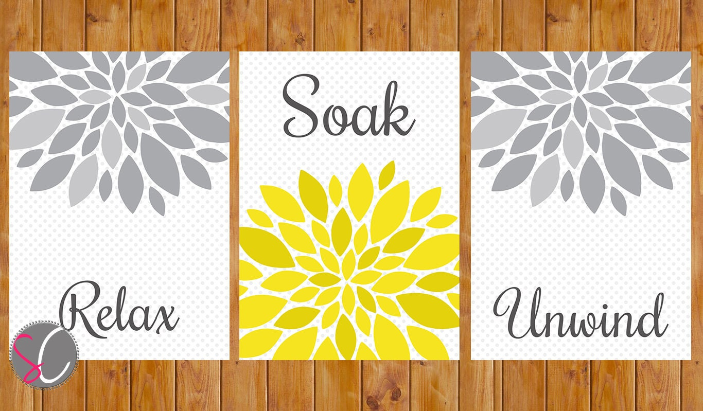 Yellow Grey Bathroom Wall Decor Flower Burst Wall Art Relax | Etsy
