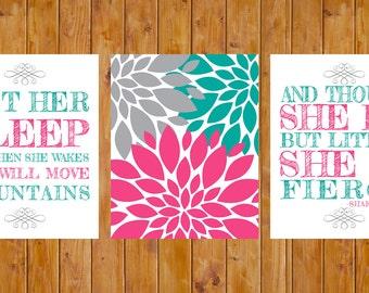 Let Her Sleep Flower Burst She is Fierce Set of 3 Nursery Decor Wall Art Hot Pink Jade Grey 8x10 Digital JPG Files  Instant Download (93j)