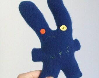 unhappy navy blue WTF bunny, SALE