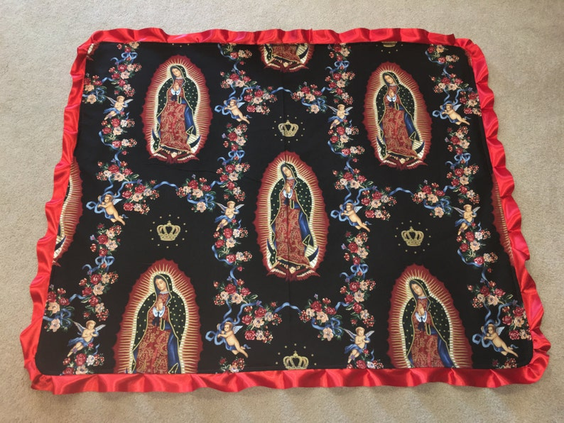 Virgin of Guadalupe punk rock tattoo boutique baby blanket with satin ruffle by Saari Design