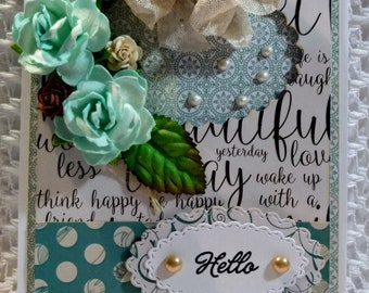 """Shabby Chic Blue and White """"Hello"""" Greeting Card with Matching Box Set"""