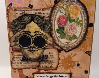 Steampunk Inspired Art Greeting / Note Card with Envelope - Shabby, Vintage - FREE SHIPPING