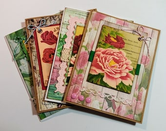 Vintage, Shabby Floral Seed Packets - 4 Greeting / Note Card Set with Envelopes - FREE SHIPPING