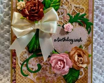 Shabby Chic Birthday Wish Greeting Card with Matching Box Set