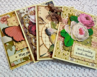 Lovely Shabby Chic and Vintage Anna Griffin Note Card Set - FREE SHIPPING