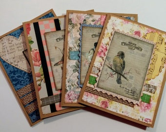 Vintage, Shabby Chic Songbirds Greeting / Note Card Set - FREE SHIPPING