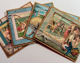 Vintage Style Seaside, Sea Shore Greeting / Note Card Set - FREE SHIPPING