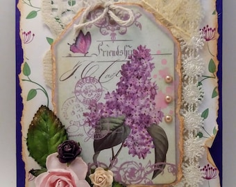 Mixed Media Art Greeting / Note Card with Envelope - Shabby, Vintage - FREE SHIPPING