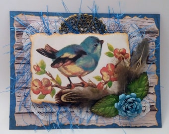 Songbird Mixed Media Art Greeting / Note Card with Envelope - Vintage, Shabby Inspired - FREE SHIPPING