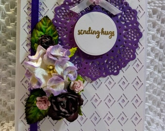 """Lavendar and White """"Sending Hugs"""" Greeting Card with Matching Box"""