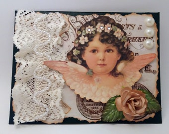 Victorian Angel Child Vintage and Shabby Chic Mixed Media Art Greeting / Note Card - FREE SHIPPING