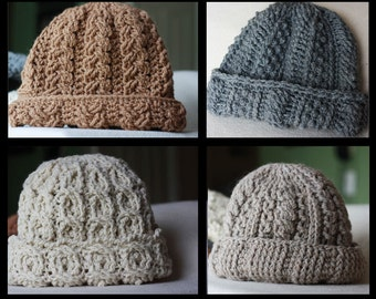 Crochet Cable Hat Etsy