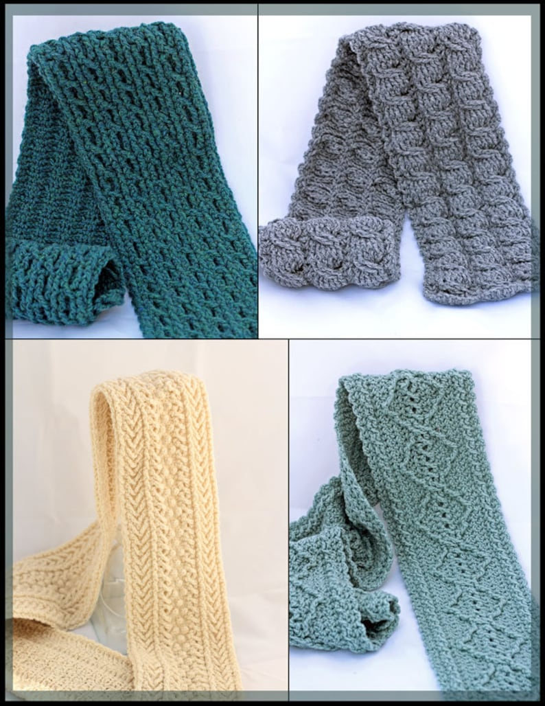 Crochet Cable Scarf Patterns Crochet Mens Scarf Etsy