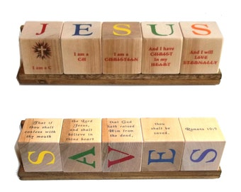 JESUS SAVES Blocks - with Praise Songs or Salvation Scriptures