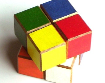 Color Blocks - 1 Inch Painted Wood - 8 Cubes