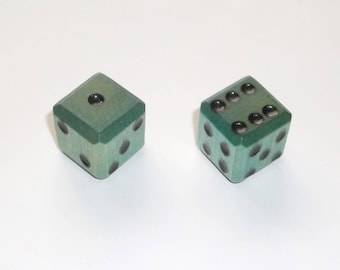 Wooden Dice - Imperfect Blue Pair