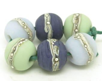 Handmade lampwork beads. Bead pairs. Purple beads. Green beads. Glass bead pairs. Bead set. SRA
