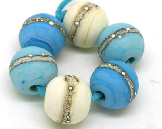 Turquoise and Ivory  Bead Pairs.