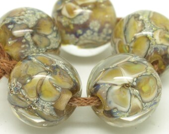 Handmade beads. Glass bead set. Sparkling beads. Encased floral beads. Lampwork SRA