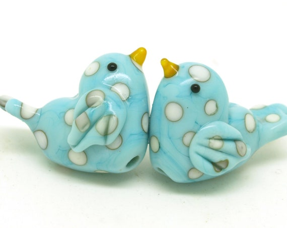 MAKE to ORDER. Love birds in pale turquoise with ivory polka dots