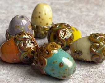 Acorn Bead Collection - Handmade Lampwork - Autumn Fall