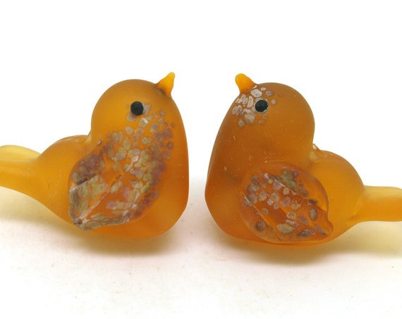 Lampwork Love Bird Heart Beads.