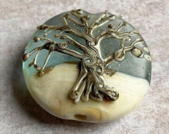 Snowy Oak Tree Glass Lampwork Focal Bead