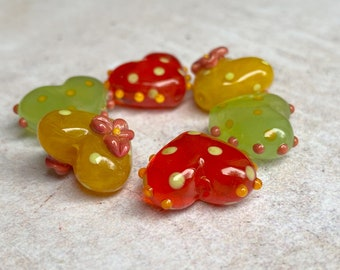 Red Glass Bead Pair Aged Lampwork Beads SRA