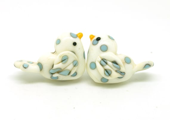 MAKE TO ORDER. Love birds in ivory with turquoise polka dots
