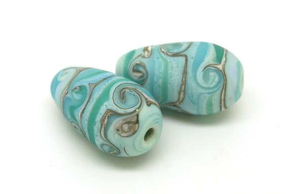 Handmade glass beads. Lampwork SRA. Drop beads. Earring drops. Bead Pair. Lampwork Pair. Organic beads.