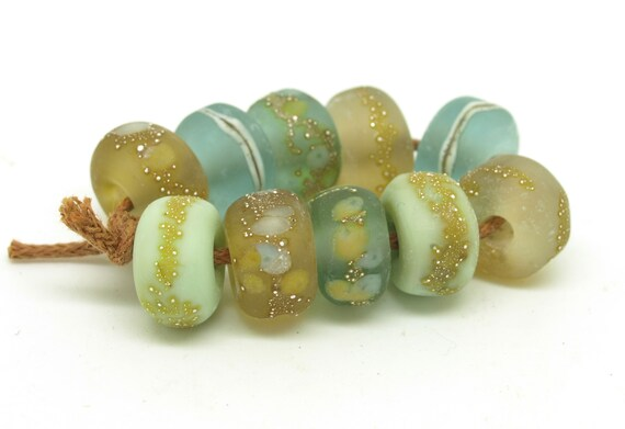 Pale green and brown organic nugget bead set.