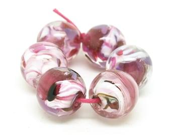 Pink lampwork bead set. Handmade glass beads. Round beads. SRA Lampwork beads. Josephine Wadman