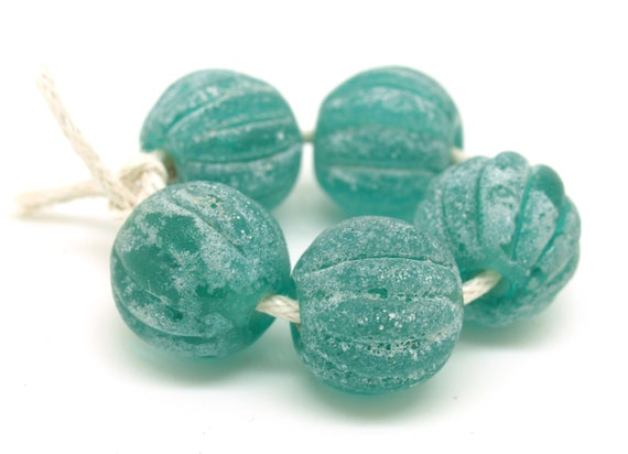 Aged Teal Glass Melon Beads