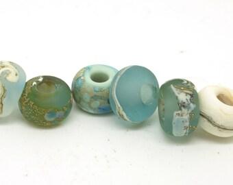 Lampwork Big Hole Beads. Glass charm beads. European bracelets. Handmade glass beads. Seaside beads. Beach beads. SRA
