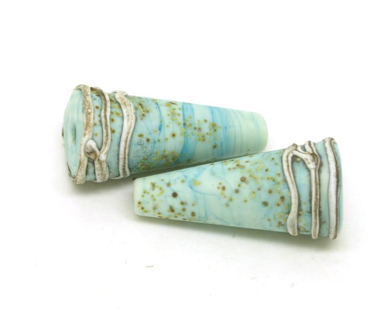 Lampwork Bead Pair Rustic Glass Beads in Clear and Raku