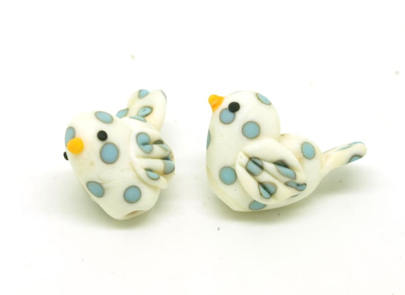 Handmade lampwork bead pair soft ivory square pillows